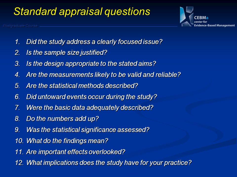 Standard appraisal questions