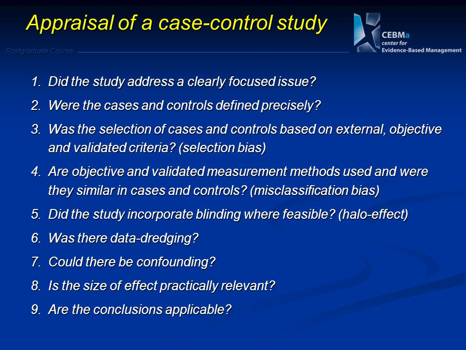 Appraisal of a case-control study