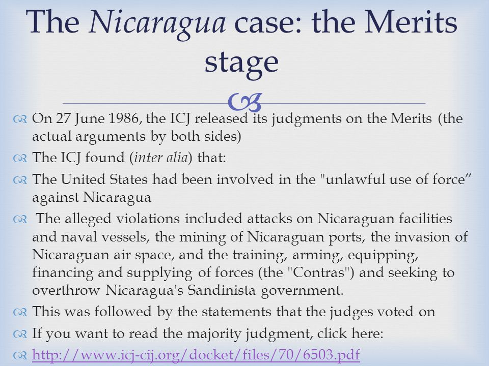 The Nicaragua case: the Merits stage