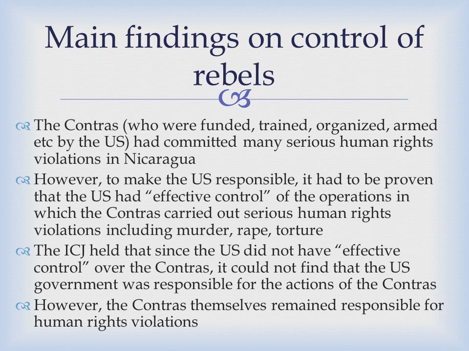 Main findings on control of rebels