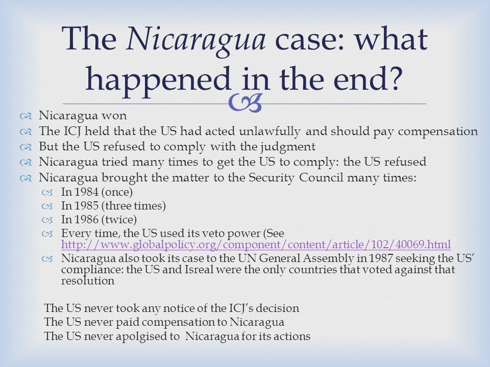 The Nicaragua case: what happened in the end