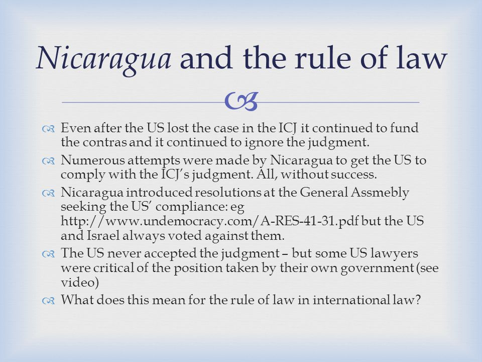 Nicaragua and the rule of law