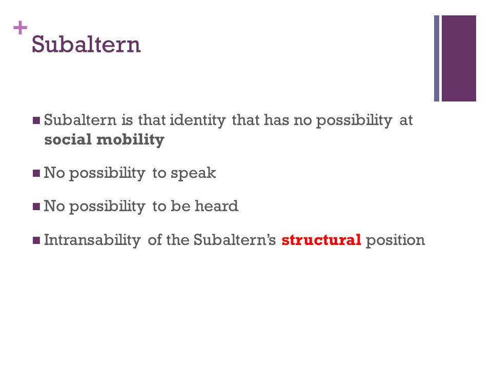 Subaltern Subaltern is that identity that has no possibility at social mobility. No possibility to speak.