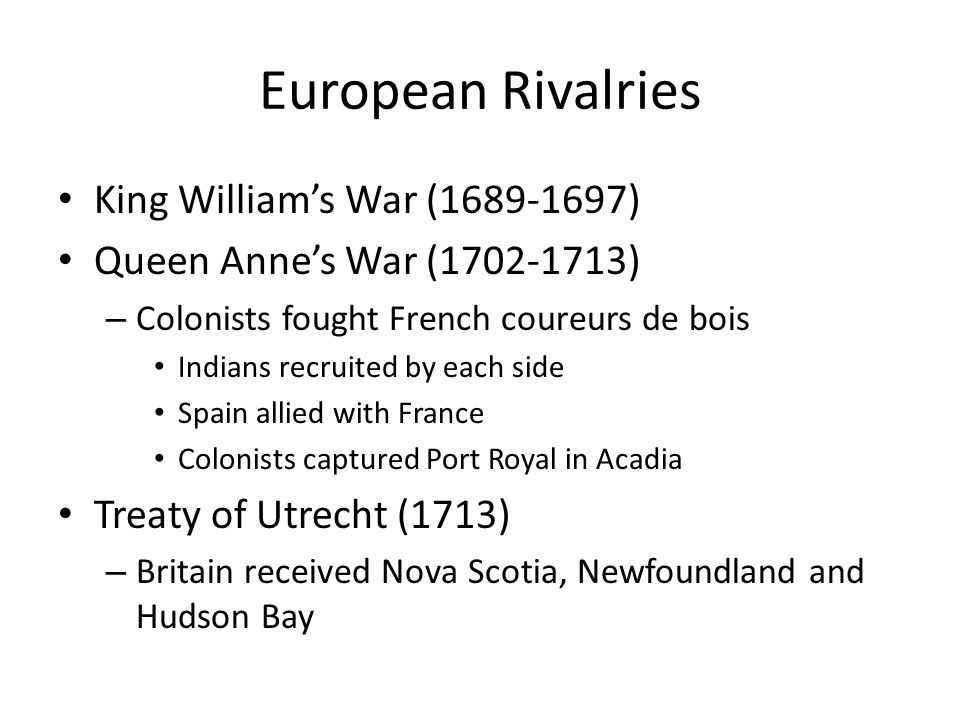 European Rivalries King William's War (1689-1697)