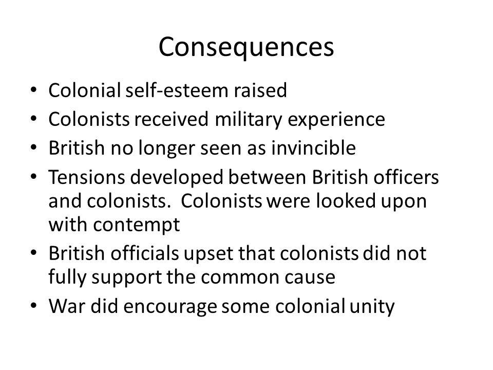 Consequences Colonial self-esteem raised