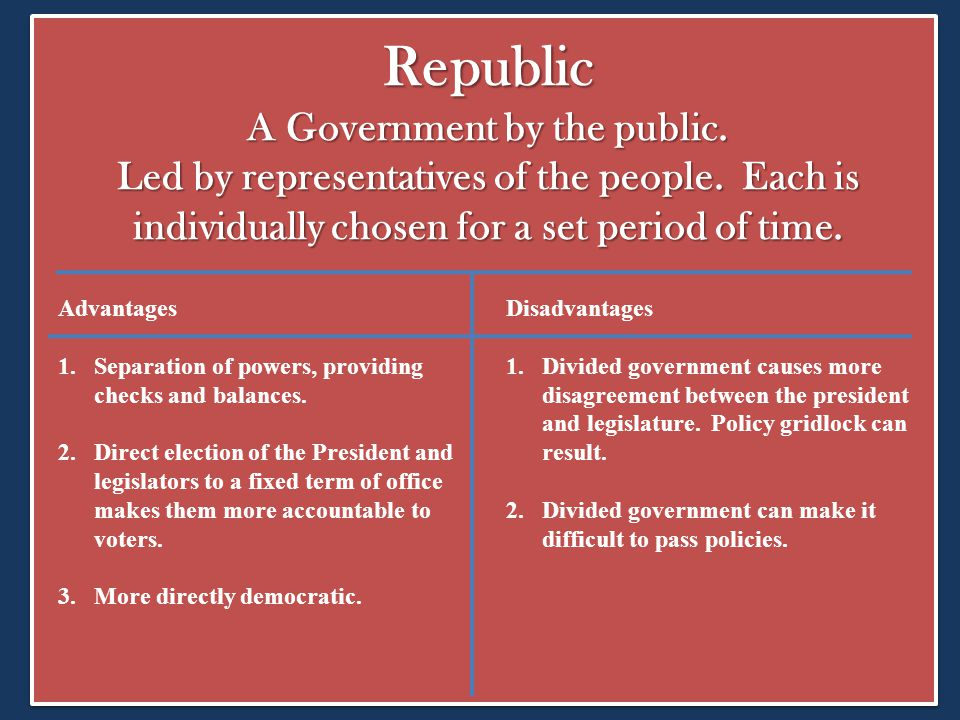 Republic A Government by the public