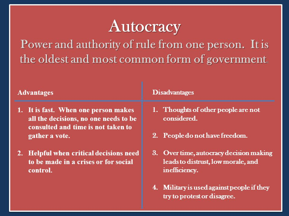 Autocracy Power and authority of rule from one person