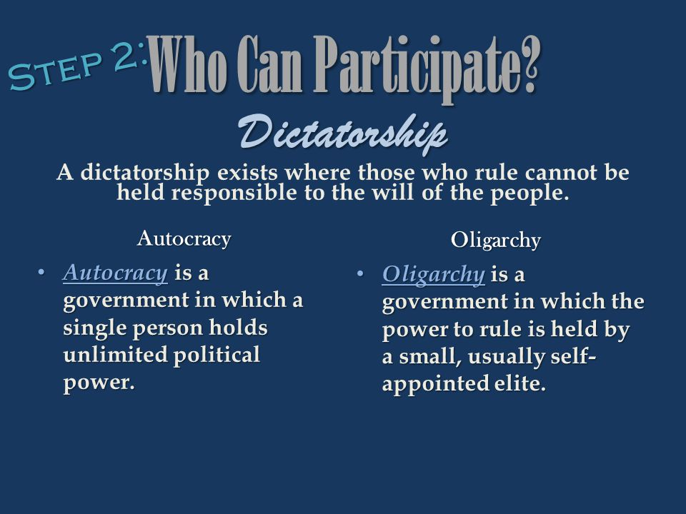 Who Can Participate Dictatorship Step 2: