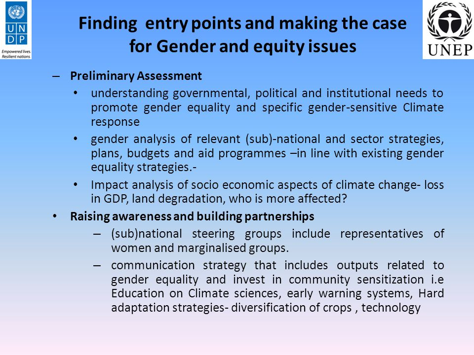 Finding entry points and making the case for Gender and equity issues
