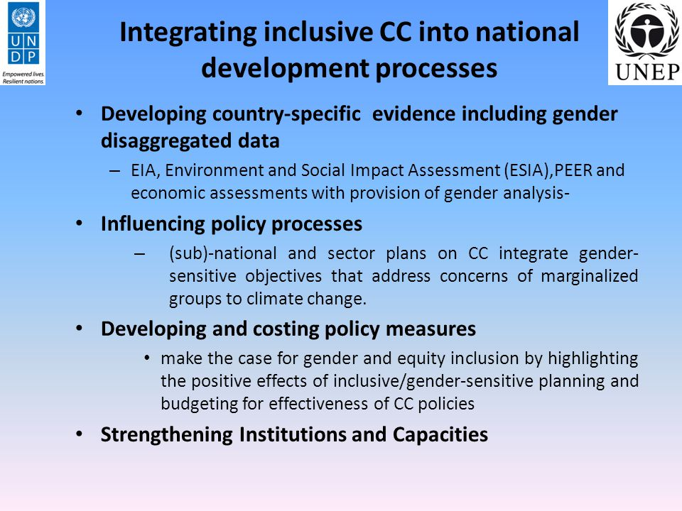 Integrating inclusive CC into national development processes