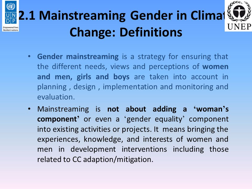2.1 Mainstreaming Gender in Climate Change: Definitions
