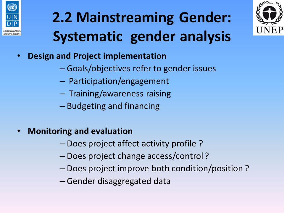 2.2 Mainstreaming Gender: Systematic gender analysis