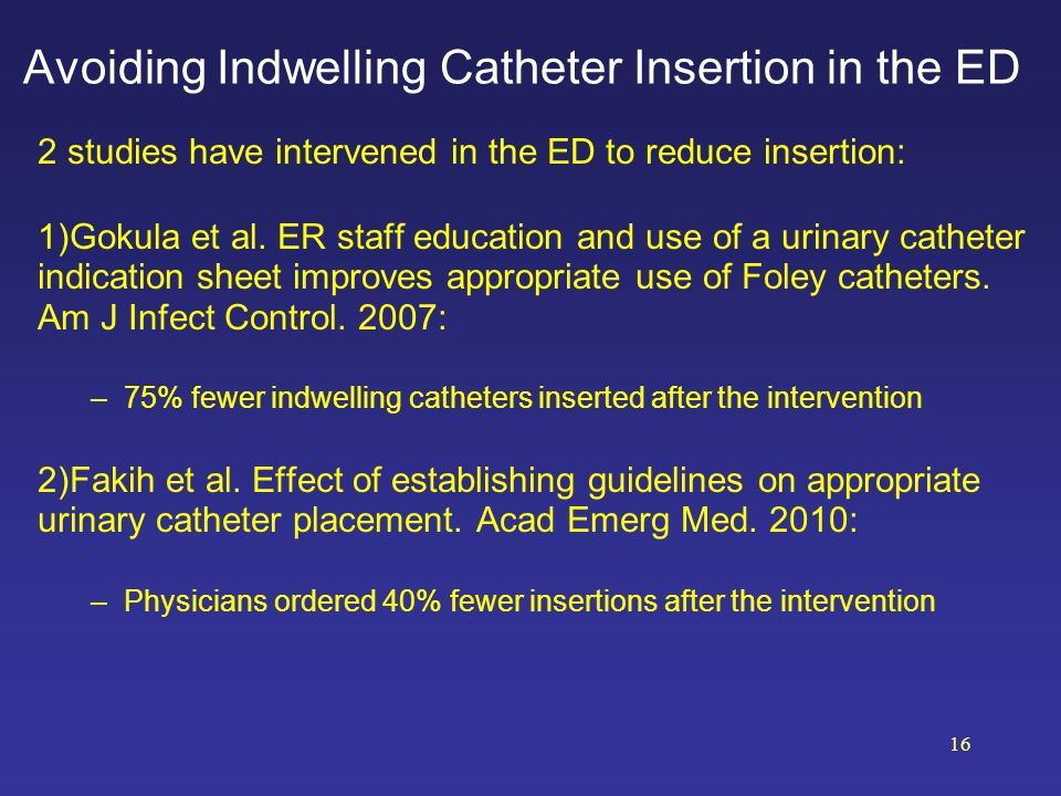 Avoiding Indwelling Catheter Insertion in the ED