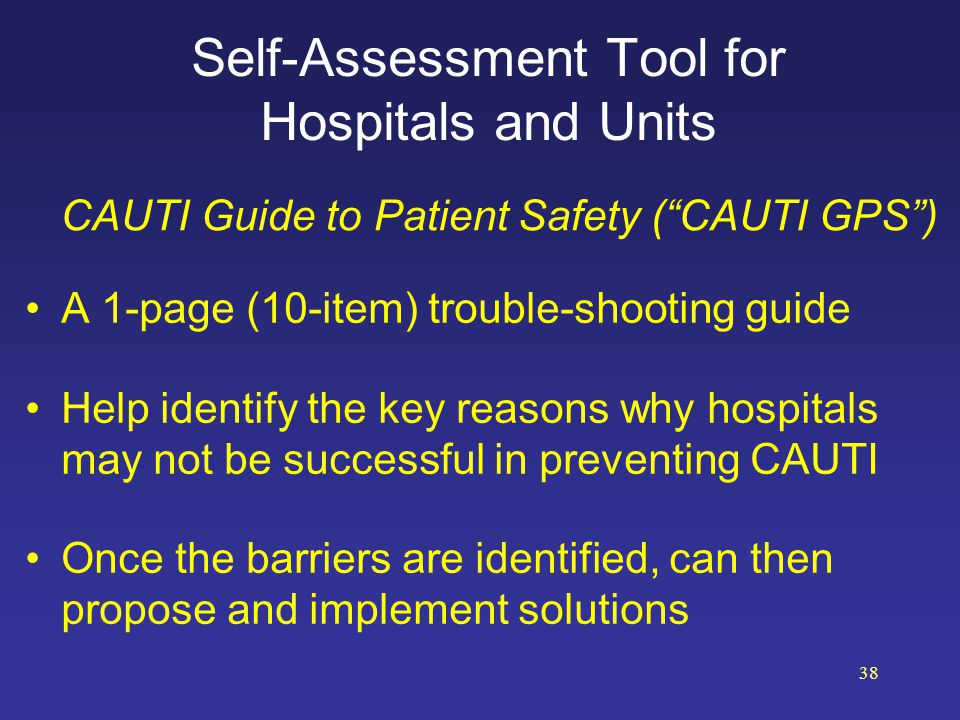 Self-Assessment Tool for Hospitals and Units