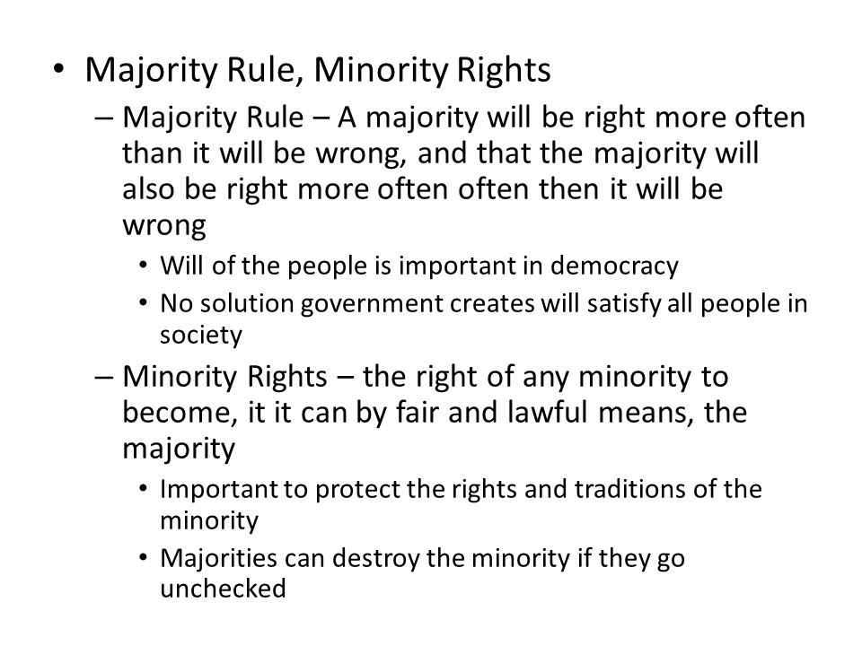 Majority Rule, Minority Rights