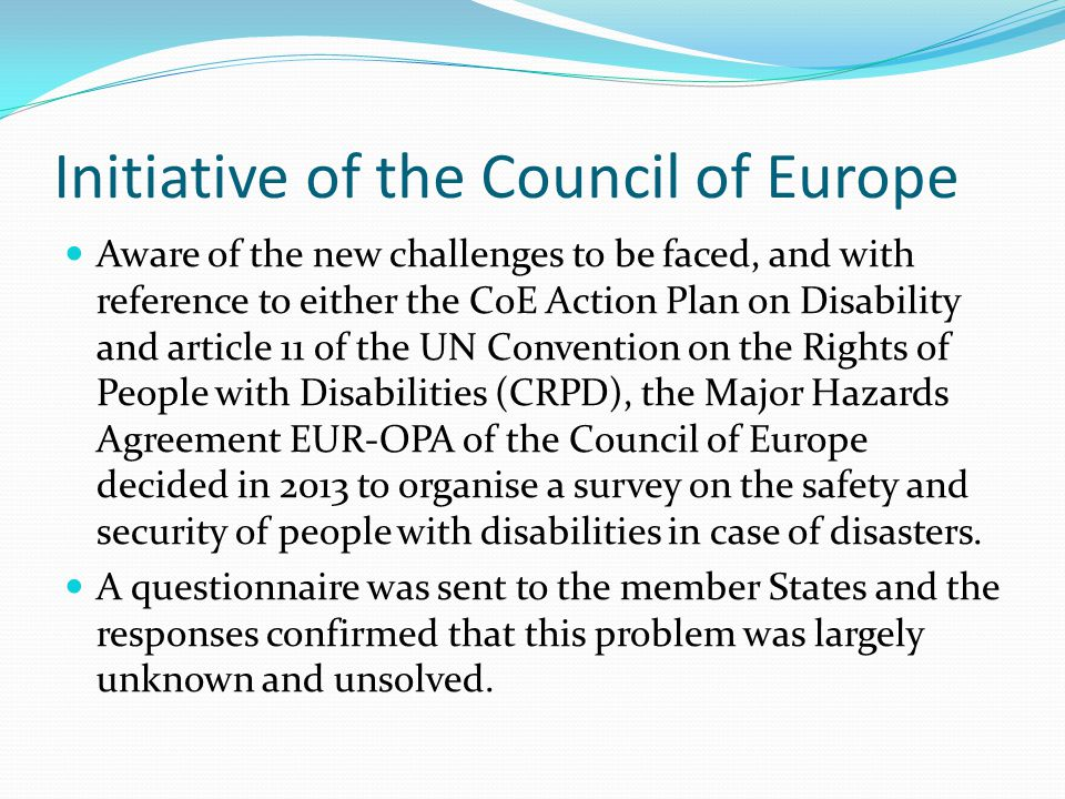 Initiative of the Council of Europe