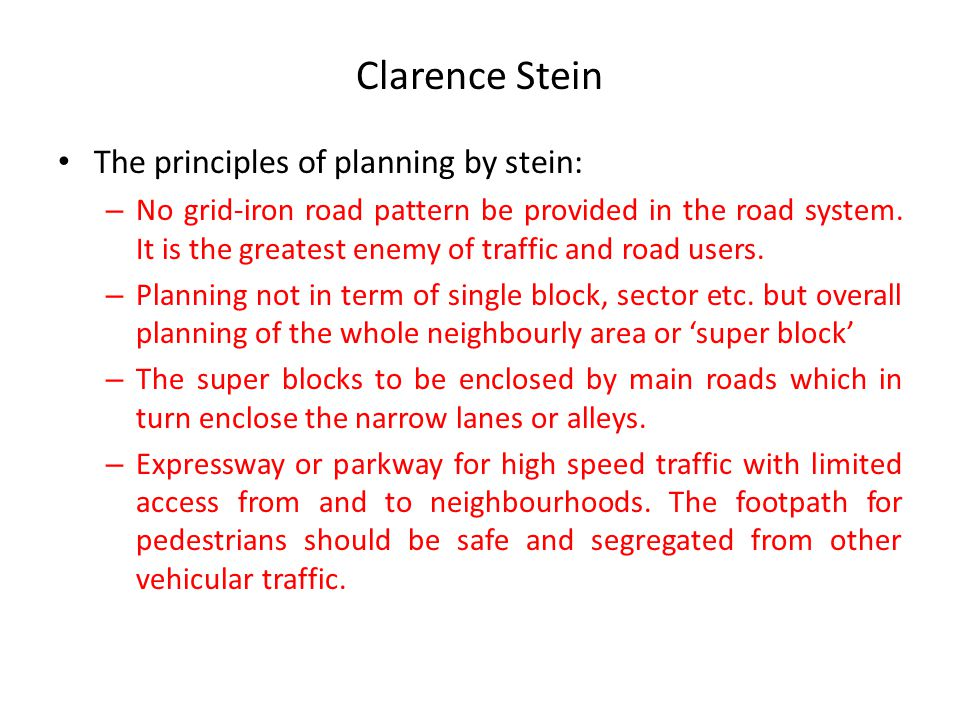 Clarence Stein The principles of planning by stein: