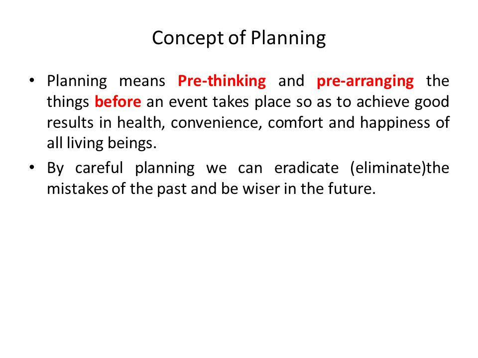 Concept of Planning
