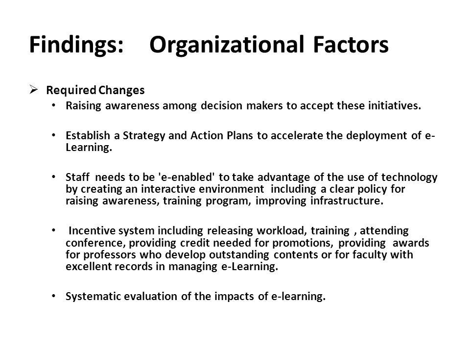 Findings: Organizational Factors