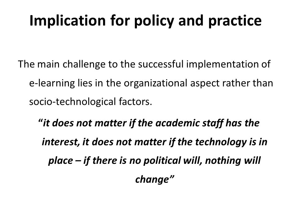 Implication for policy and practice