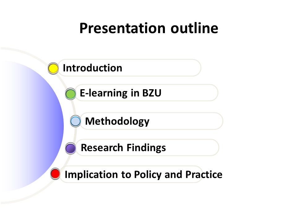 Presentation outline Introduction E-learning in BZU Methodology