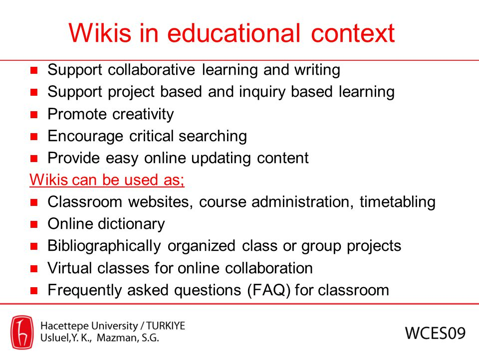 Wikis in educational context