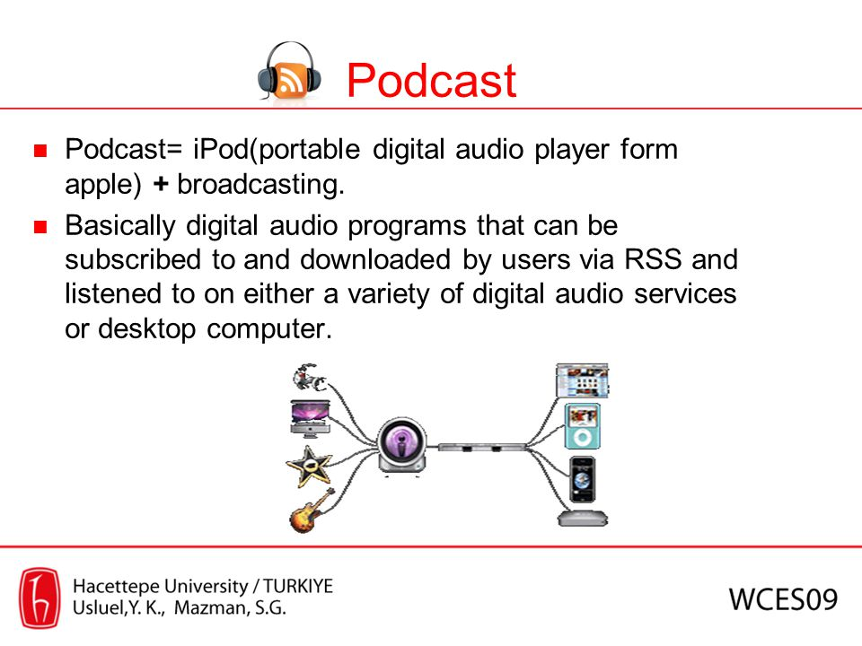 Podcast Podcast= iPod(portable digital audio player form apple) + broadcasting.