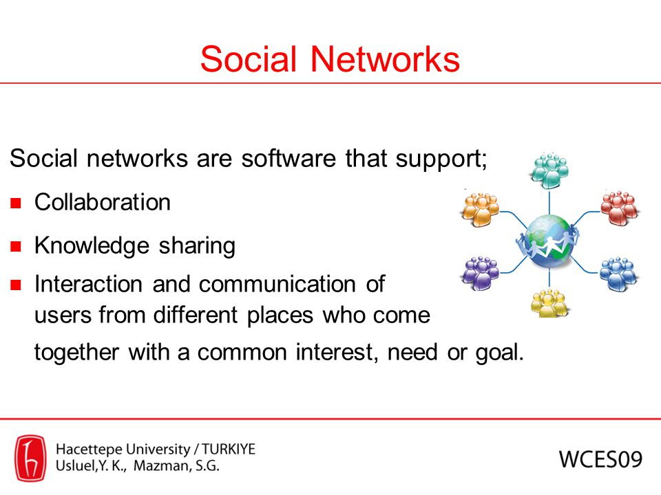 Social Networks Social networks are software that support;