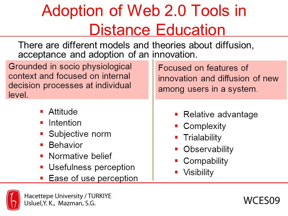 Adoption of Web 2.0 Tools in Distance Education