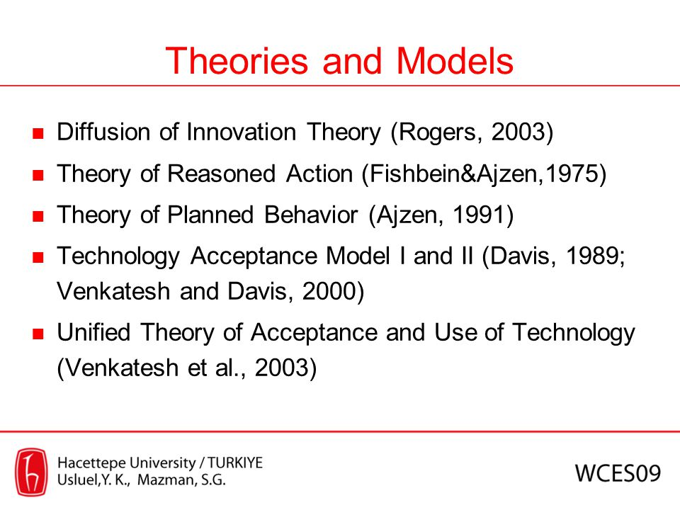 Theories and Models Diffusion of Innovation Theory (Rogers, 2003)