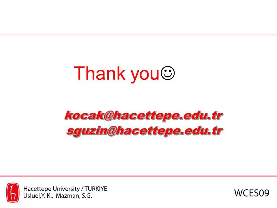 Thank you kocak@hacettepe.edu.tr sguzin@hacettepe.edu.tr