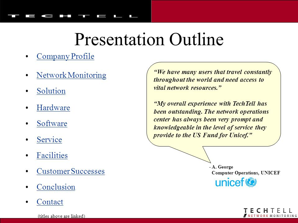 Presentation Outline Company Profile Network Monitoring Solution