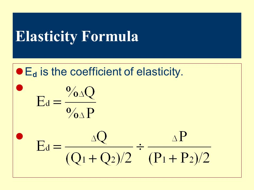 Elasticity Formula Ed is the coefficient of elasticity.