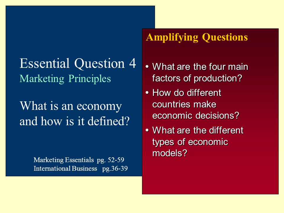 Amplifying Questions Essential Question 4 Marketing Principles What is an economy and how is it defined