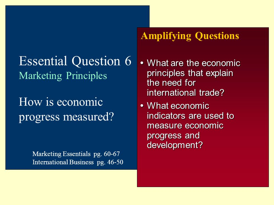 Amplifying Questions Essential Question 6 Marketing Principles How is economic progress measured