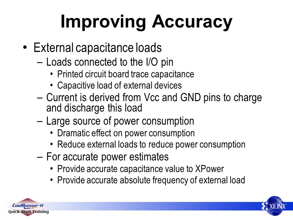 Improving Accuracy External capacitance loads