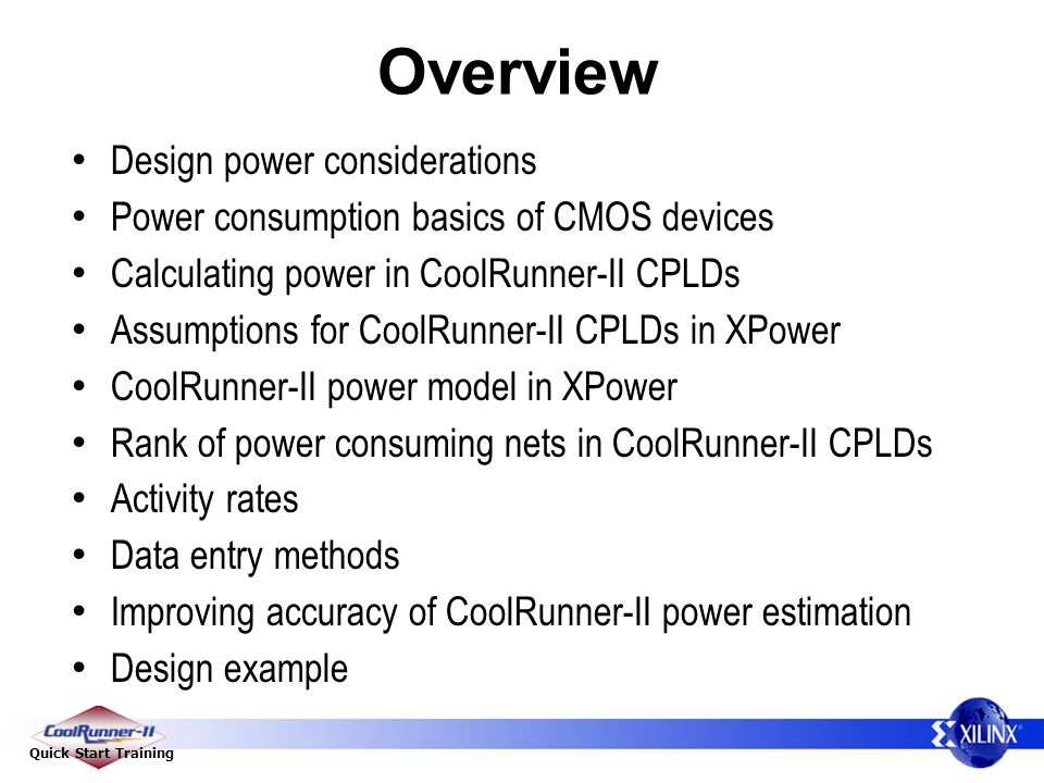 Overview Design power considerations