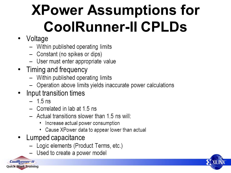 XPower Assumptions for CoolRunner-II CPLDs
