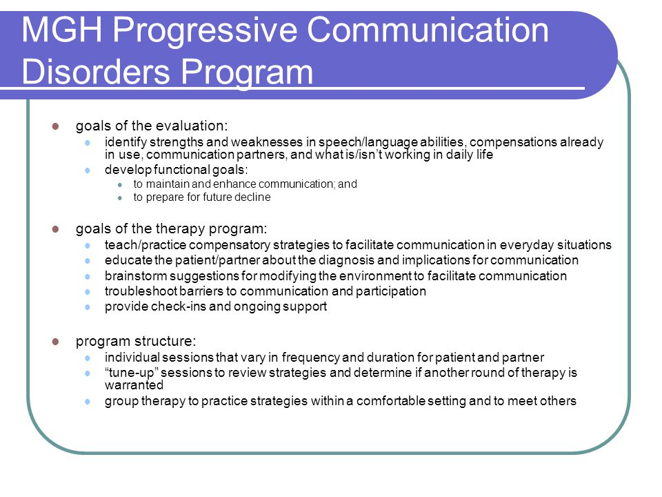 MGH Progressive Communication Disorders Program