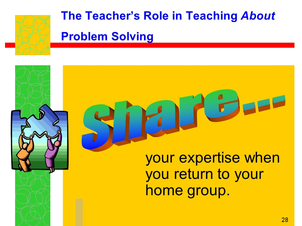 The Teacher's Role in Teaching About Problem Solving