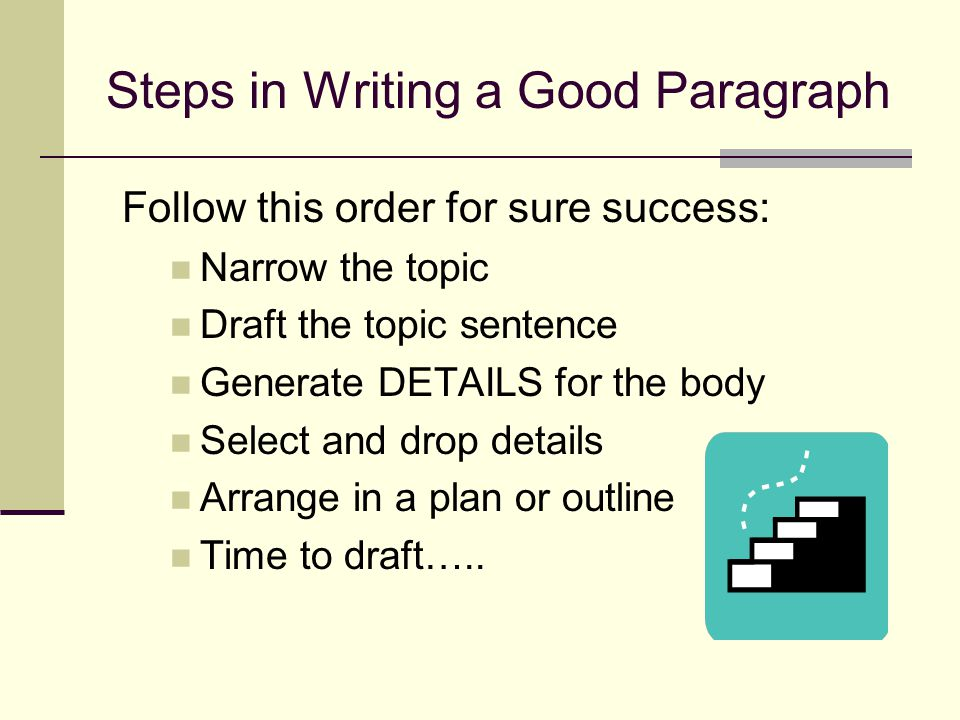 Steps in Writing a Good Paragraph
