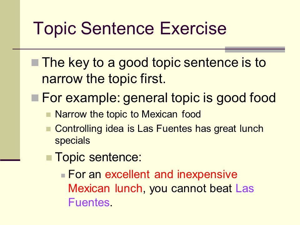 Topic Sentence Exercise