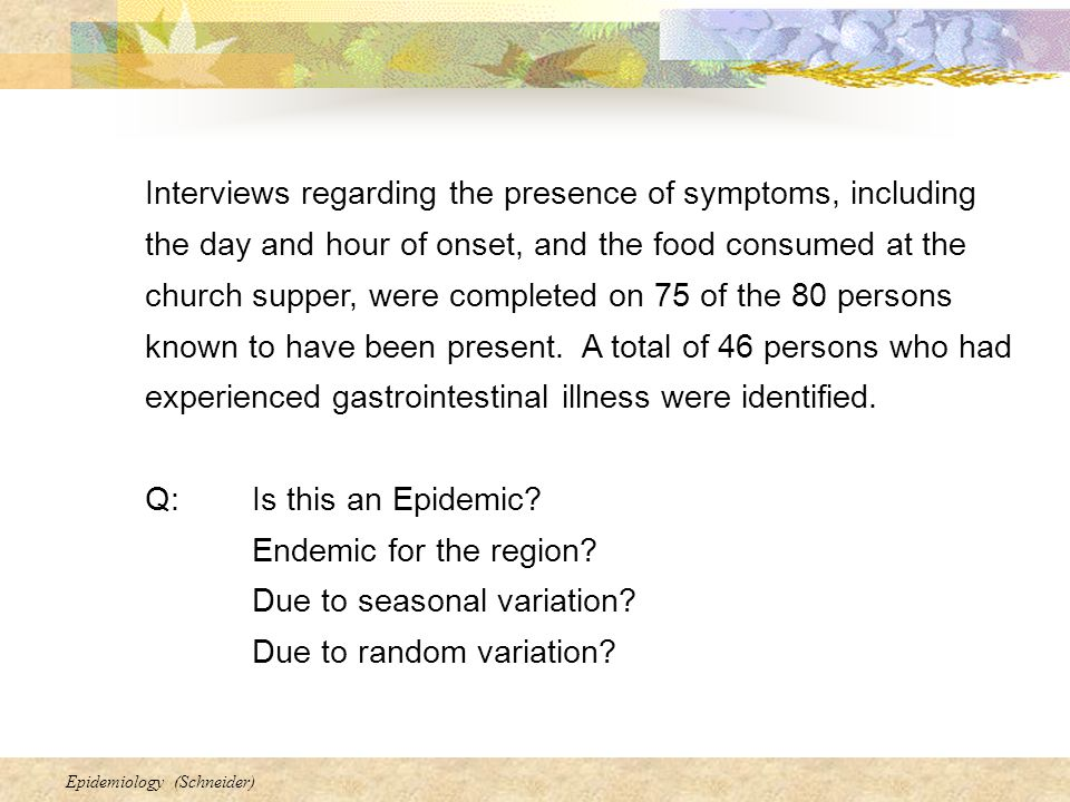 Interviews regarding the presence of symptoms, including the day and hour of onset, and the food consumed at the church supper, were completed on 75 of the 80 persons known to have been present. A total of 46 persons who had experienced gastrointestinal illness were identified.