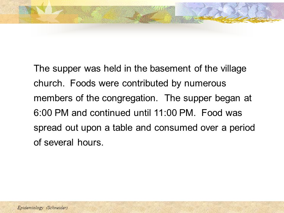 The supper was held in the basement of the village church