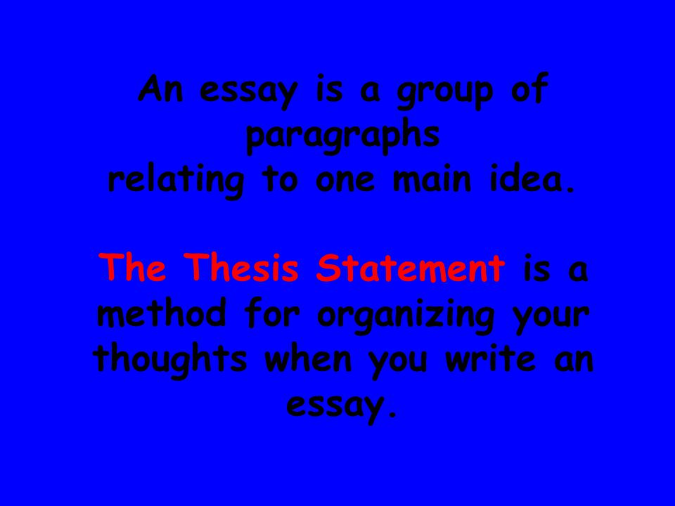 An essay is a group of paragraphs relating to one main idea