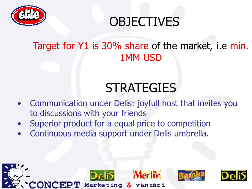Target for Y1 is 30% share of the market, i.e min. 1MM USD