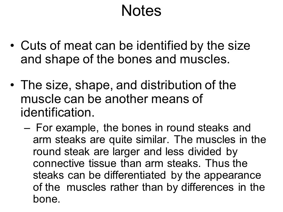 Notes Cuts of meat can be identified by the size and shape of the bones and muscles.