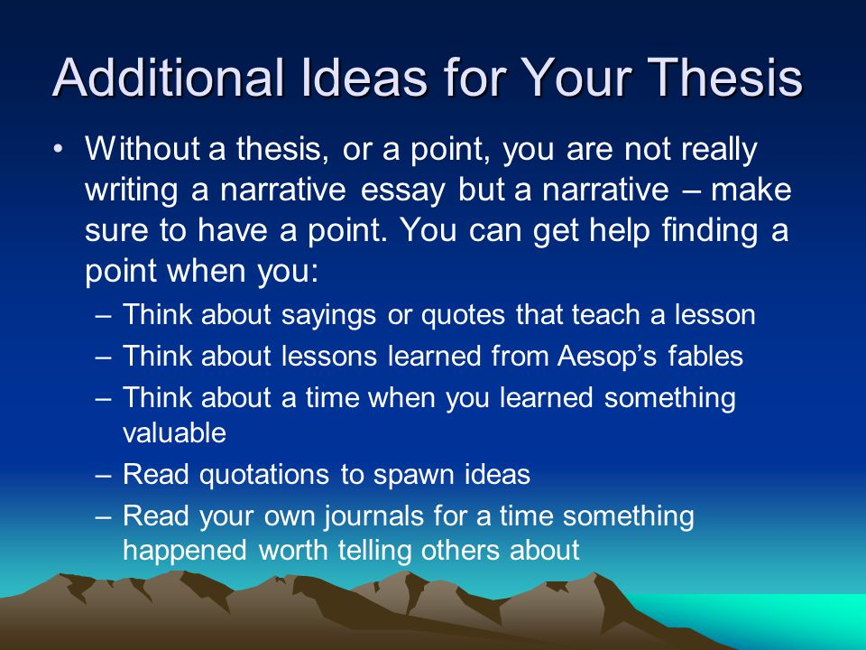 Additional Ideas for Your Thesis