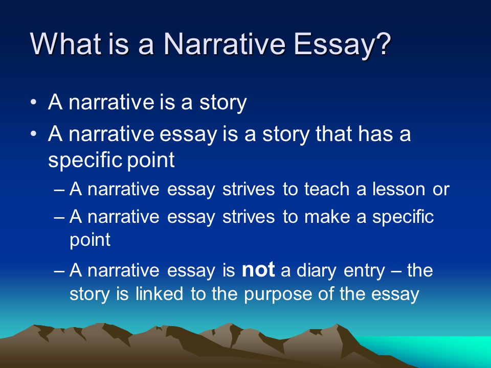descriptive narrative essay The purpose of a narrative descriptive essay is to tell a story vividly to appeal to the reader's senses the more sensory images, or description, that is used to tell a story, the more interesting it will be to readers.