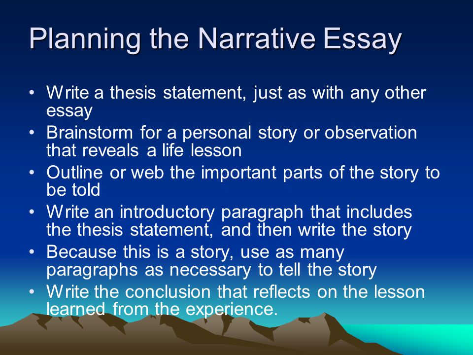 Narrative Essay Topics For High School Students Planning The Narrative Essay  Start With A Thesis Statement Thesis Statement Example For Essays also Essay On Science And Religion The Middle School Narrative Essay It Differs From A Simple Story  Global Warming Essay Thesis